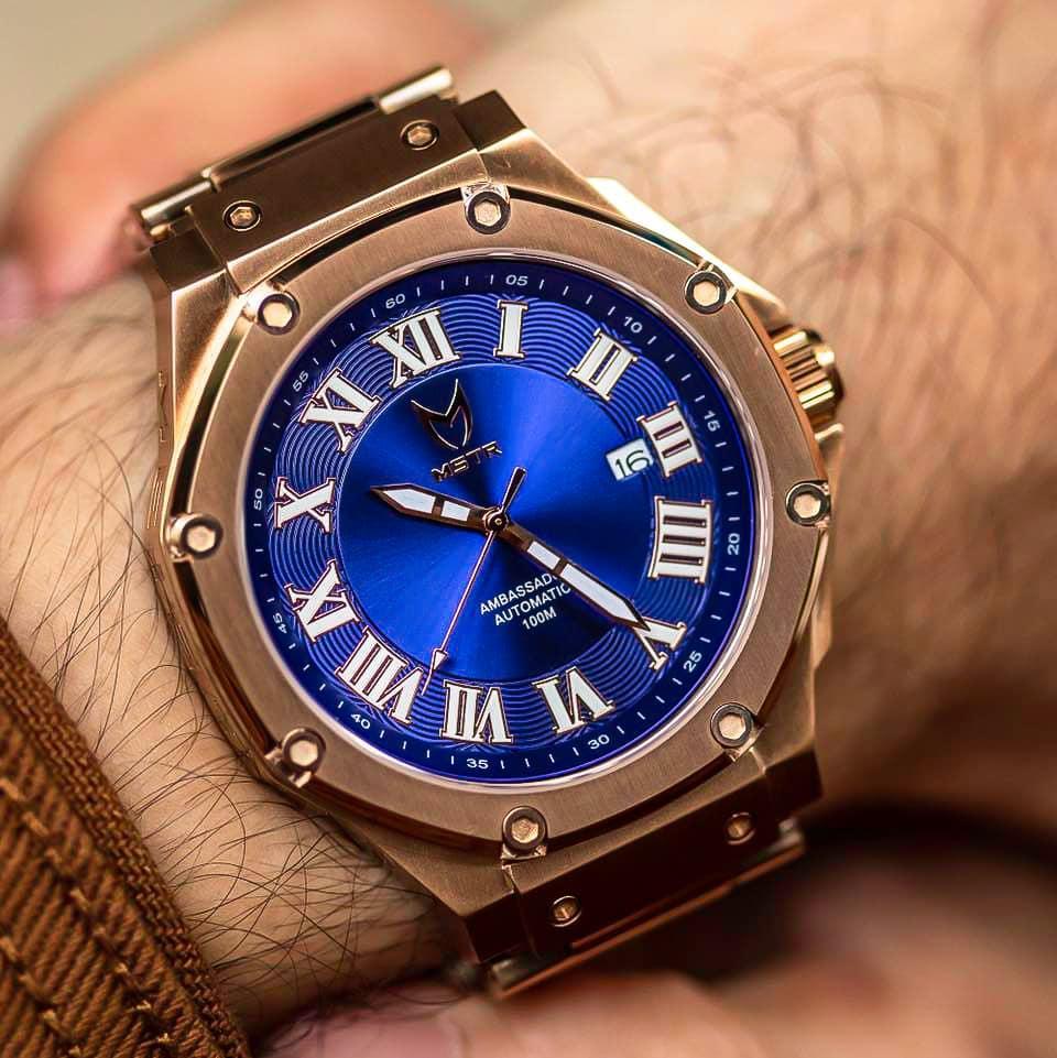 Automatic - Rosé Goud & Blauw
